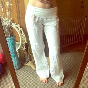 Moda international white linen beach pants